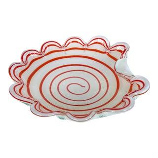 Murano Art Glass Bowl w/ Red & White Swirls