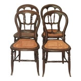 Image of Late 19th Century Cane Bottom Balloon Back Dining Chairs - Set of 4 For Sale