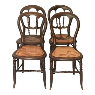 Late 19th Century Cane Bottom Balloon Back Dining Chairs - Set of 4 For Sale