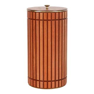 Mid Century Modern Walnut Trash Can / Waste Bin With Lid For Sale