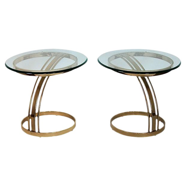Brass & Glass Side Tables - A Pair - Image 1 of 8
