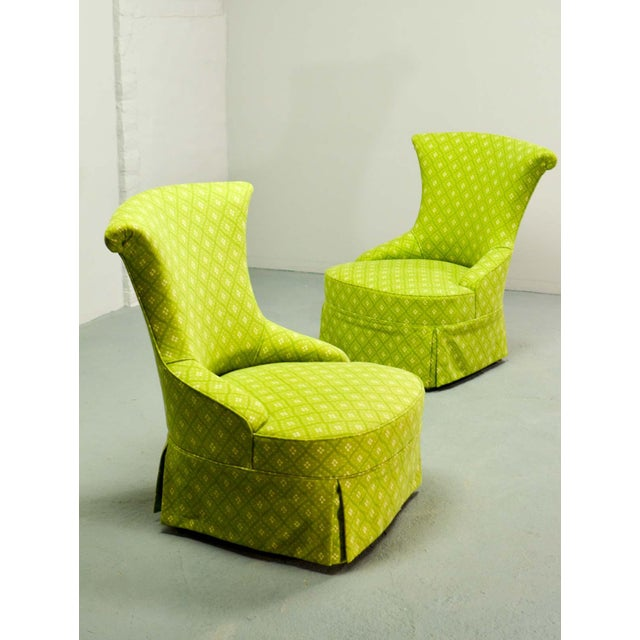 Fine pair of French Design Napoleon III Style Lime Green Boudoir / Slipper Chairs, 1900s For Sale - Image 9 of 12