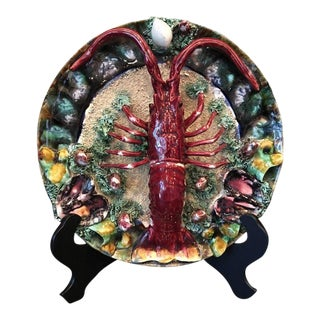 Early 20th Century Antique Majolica Lobster Plate Charger For Sale