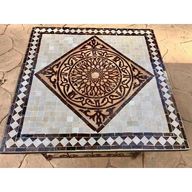 Mid 20th Century Moroccan Square Brown and Grey Mosaic Tile Coffee Table on Iron Base For Sale - Image 5 of 12