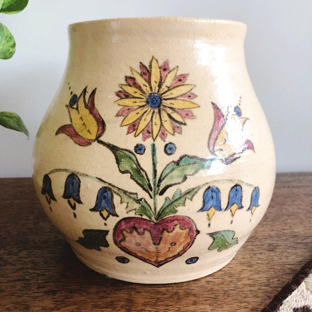 Mid-Century Modern Vintage Scandinavian Hand-Painted and Hand-Thrown Ceramic Vase For Sale - Image 3 of 9