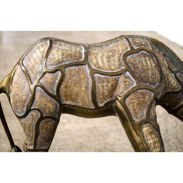 Gold Large Mid Century Brass Giraffe Floor Statues For Sale - Image 8 of 11