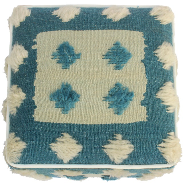 Modern Moroccan Blue & Tan Wool Upholstered Handmade Ottoman For Sale - Image 4 of 7