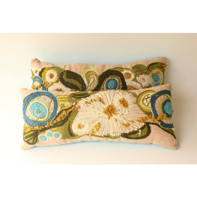 Abstract Floral Crewel Pillows - Pair - Image 3 of 6
