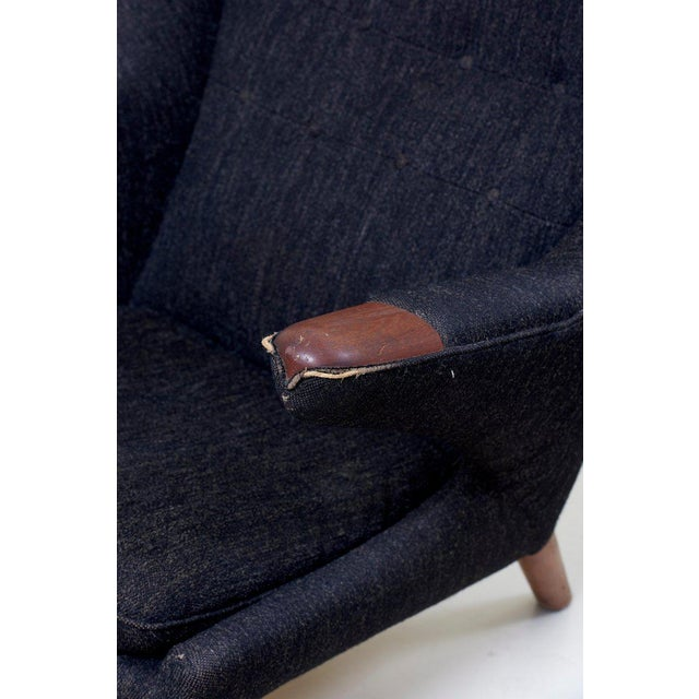 Brown Hans J. Wegner Papa Bear Chair in Black Fabric For Sale - Image 8 of 10