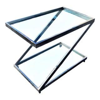 Milo Baughman for Thayer Coggin Chrome Z End Side Table For Sale