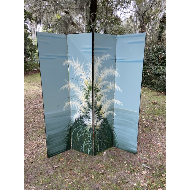 Late 20th Century Pair Late 20th C. Hand-Painted Screens - Coastal Landscape For Sale - Image 5 of 13