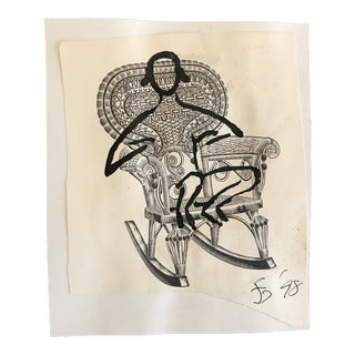 1998 Figure in a Victorian Wicker Chair Collage Drawing For Sale