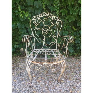 A Rare Set of Six 1940s Wrought Iron Garden Chairs