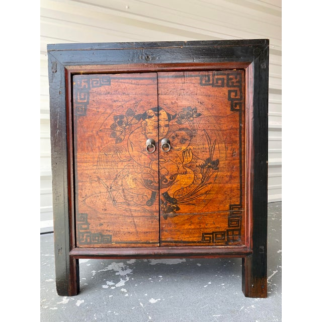 Wood Late 19th Century Antique Mongolian Chinese 2 Door Cabinet For Sale - Image 7 of 11