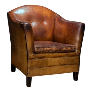 1960s Vintage Bart Van Bekhoven From Holland Leather Armchair For Sale