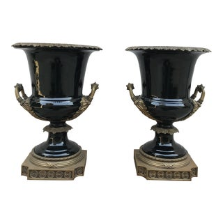 Neoclassical French Empire Black Porcelain Vases - a Pair