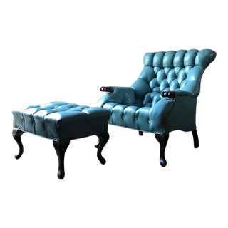 1950s Turquoise Tufted Leather Chair and Ottoman For Sale