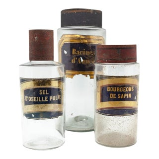 Vintage Apothecary Clear Glass Canister - Set of 3 For Sale