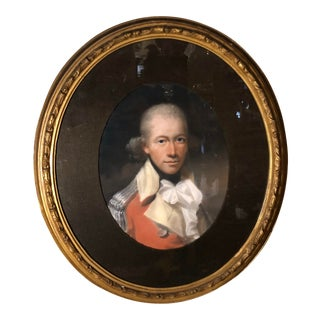 Antique 18th C Pastel Portrait Painting of British Military Officer For Sale