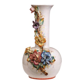 Large Early 20th Century French Hand Painted Barbotine Vase With Flowers