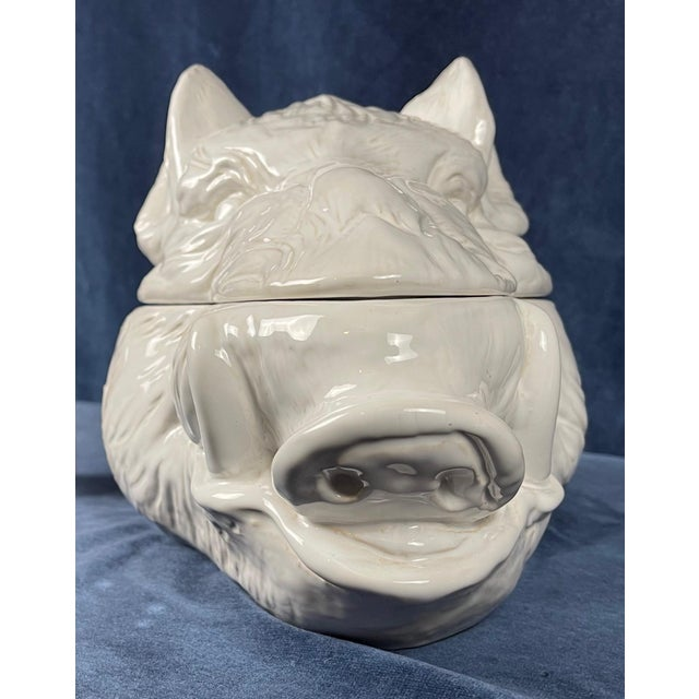 Late 20th Century White Ceramic Wild Boar's Head Tureen For Sale In Palm Springs - Image 6 of 10