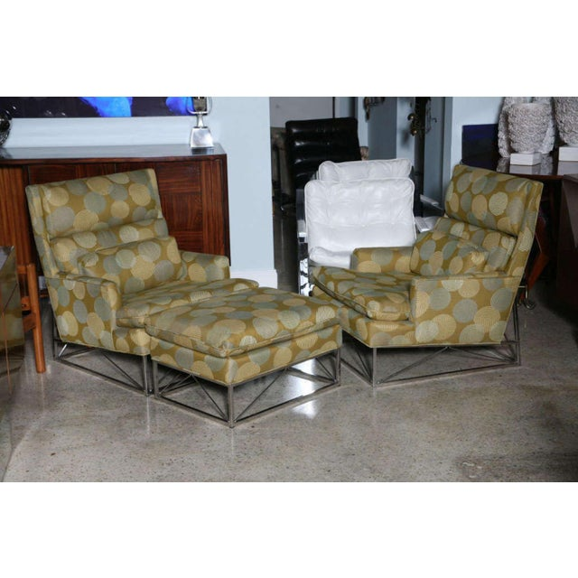 Modern Fine Pair of Michel Boyer Chrome High Back Chairs and Ottoman For Sale - Image 3 of 9