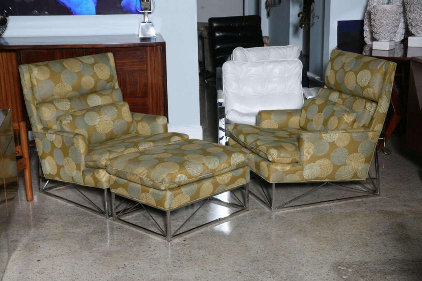 Modern Fine Pair Of Michel Boyer Chrome High Back Chairs And Ottoman For  Sale   Image