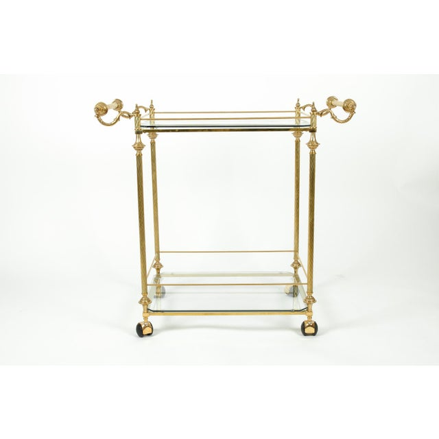 Mid 20th Century Vintage Solid Brass / Glass Shelves Two-Tier Bar Cart For Sale - Image 5 of 13