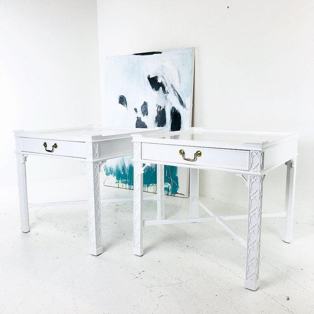 Pair of lacquered Chippendale side tables by Baker. Theses tables have been lacquered and are in good condition....