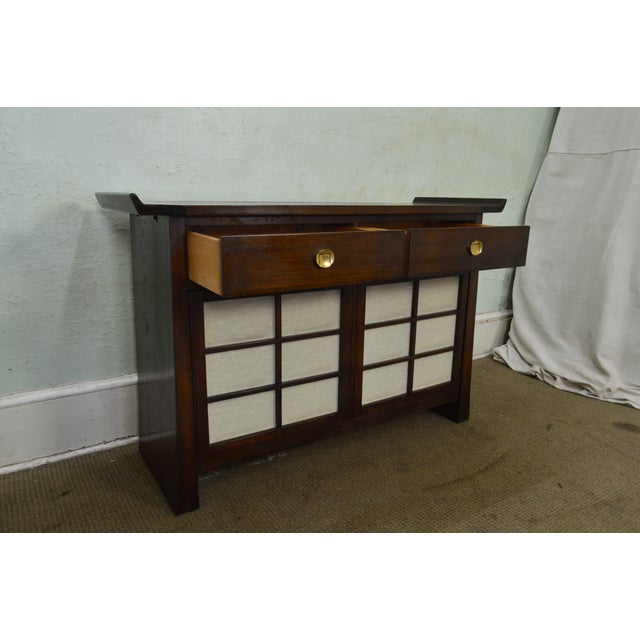 Brown Bernhardt Flair Division Asian Inspired Console Server Cabinet For Sale - Image 8 of 13