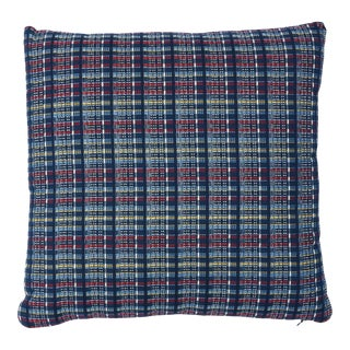 Schumacher Zealand Check Pillow in Navy Multi For Sale