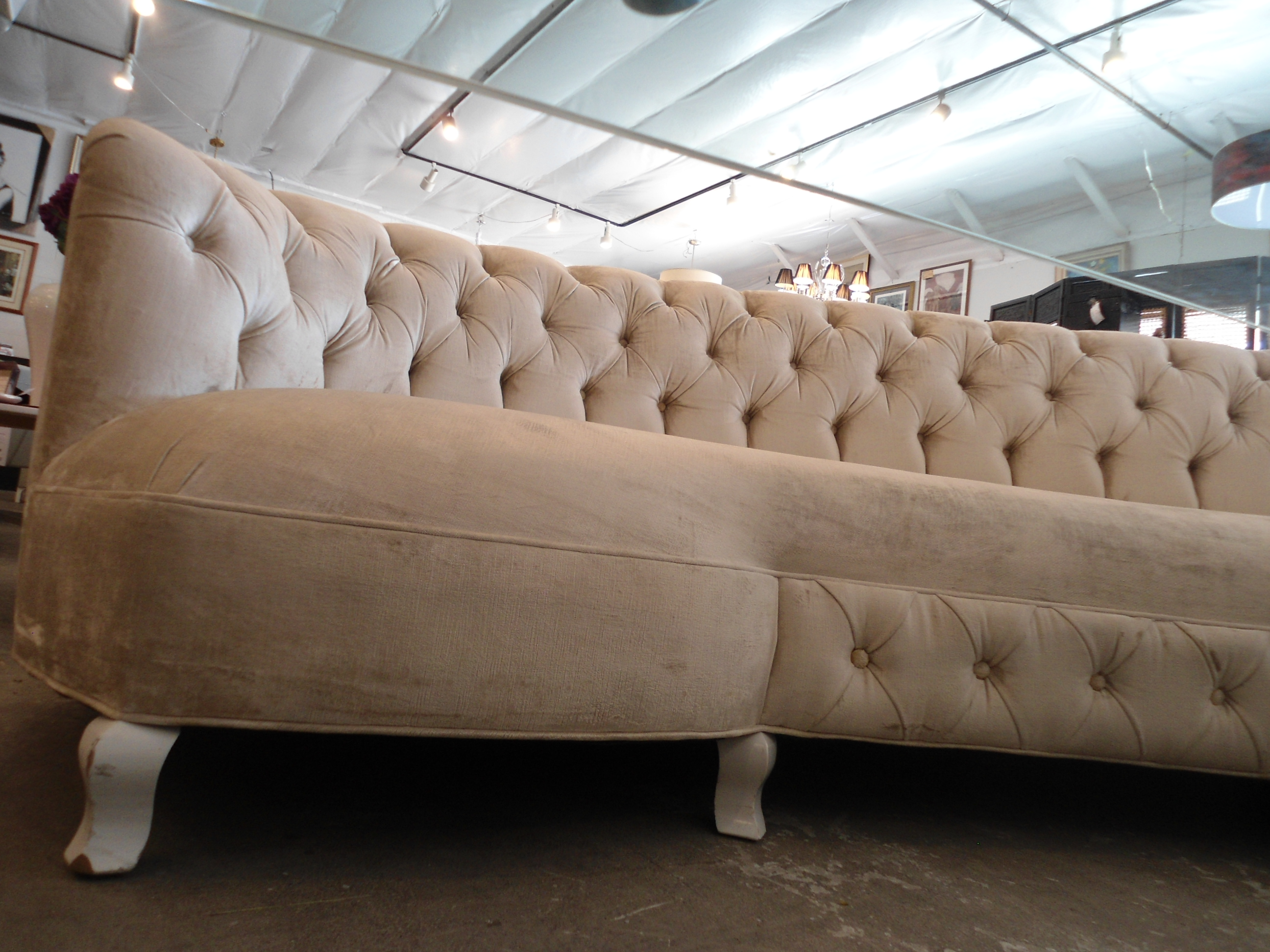 Horchow Tufted Velvet Monroe Curved Sofa For Sale In Los Angeles   Image 6  Of 11