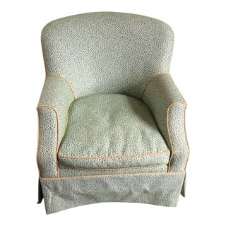 Green Custom Crypton Upholstered Chair For Sale