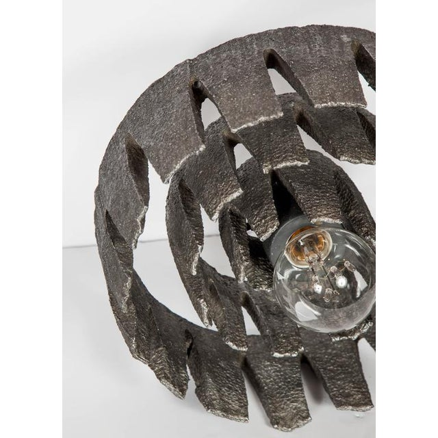 Brutalist German Mid-Century Wheel Sculpture and Lamp with Brutalist Design For Sale - Image 3 of 9