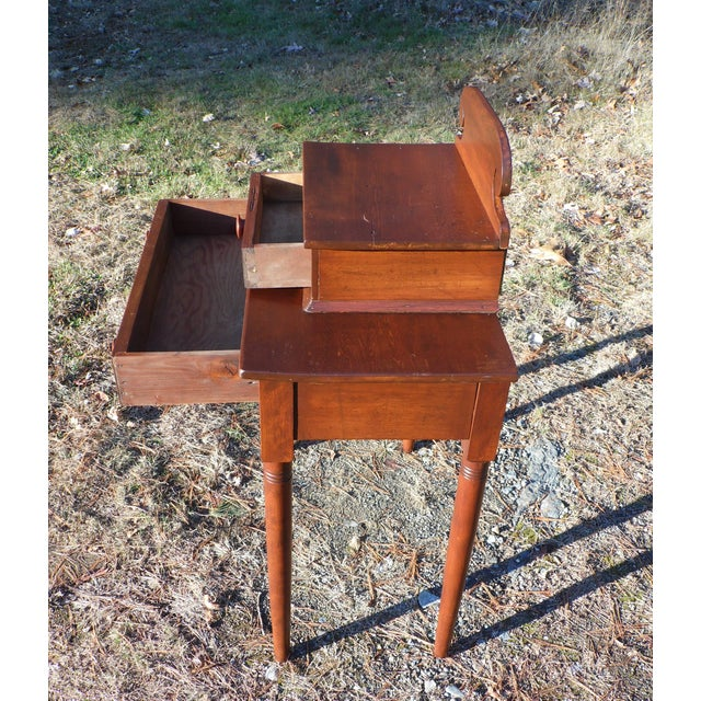 Wood Antique 1840's Sheraton 2 Drawer Stand Desk Vanity Entry Table New England For Sale - Image 7 of 13