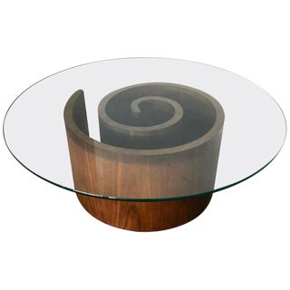 Vladimir Kagan Walnut Snail Coffee Table With Round Glass Top For Sale