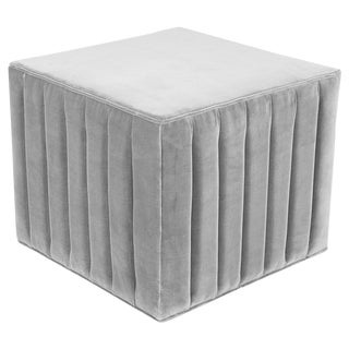 Manhattan Ottoman in Sharkskin Gray Velvet