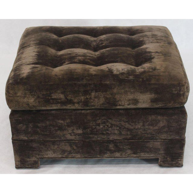Large Square Deep Bronze Velvet Upholstery Tufted Upholstery Ottoman Footstool For Sale - Image 11 of 11