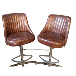 Vintage 1960s Chromacraft Brown Vinyl Stools Bar Set - 3 Piece Set For Sale