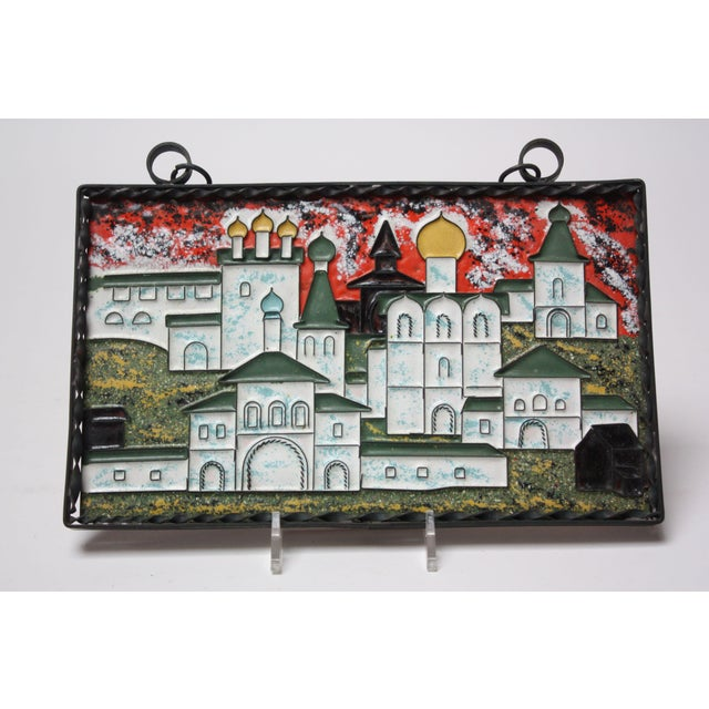 Mid-Century Modern Vintage Russian Enamel on Copper Cityscape For Sale - Image 3 of 13