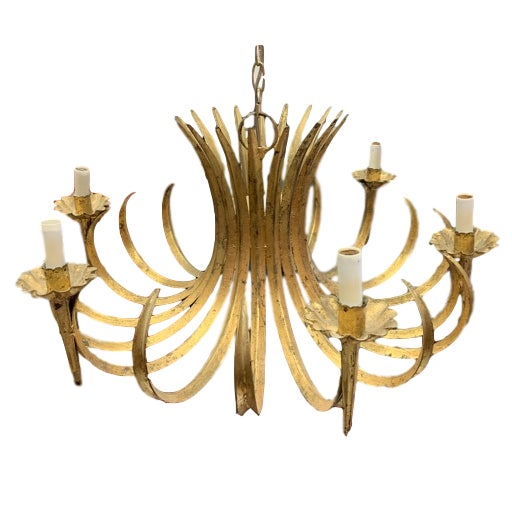 Italian style, mid-century chandelier. Long, curled blades of grass gathered in a sheaf. Finished in gold leaf and...