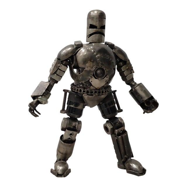 Heavy Gauge Scrap Metal Robot Sculpture For Sale