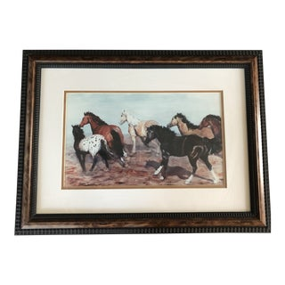 1990s Signed Western Horse Limited Edition Print For Sale