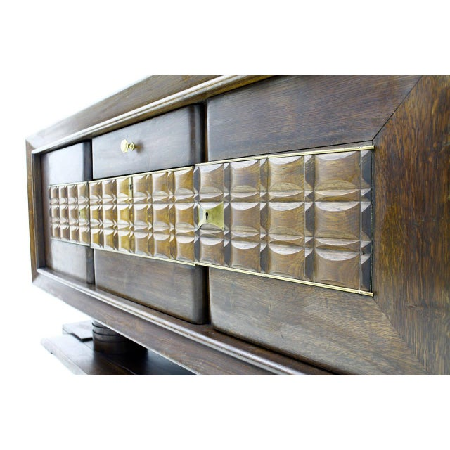 Brass Brutalist Credenza, Sideboard by Charles Dudouyt, France, Circa 1940s For Sale - Image 7 of 10