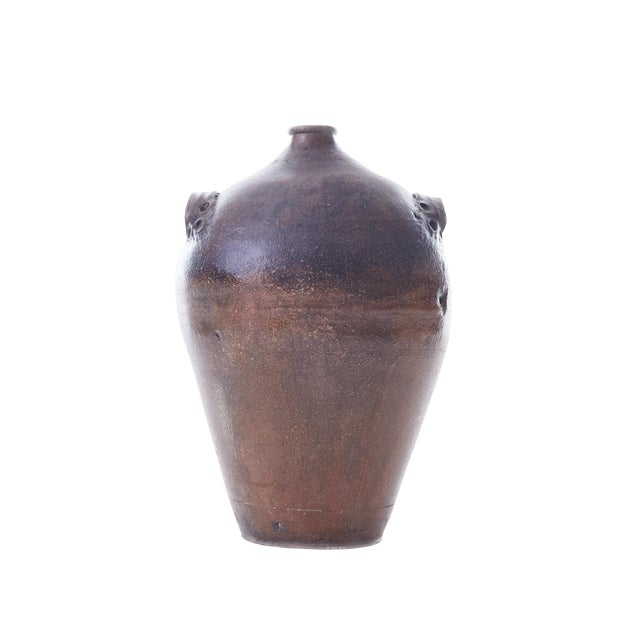 19th Century Handmade Earthenware Wine Jug With Handles For Sale