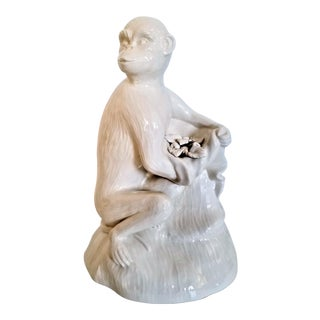 1950s Monkey Sculpture Figurine on Faux Bois Tree Branch - White Italian Porcelain - Mid Century Modern MCM Italy Palm Beach Boho Chic For Sale