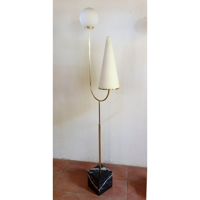 1960s Large Mid-Century Modern Marble, Brass & Glass Floor Lamps, Italy 1960s - a Pair For Sale - Image 5 of 12