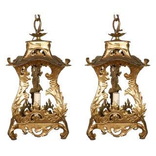 Venetian Style Tole Pendants - a Pair