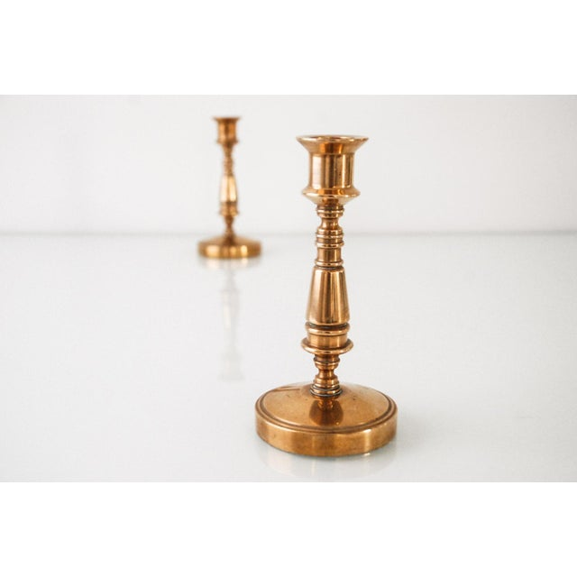 Vintage Classic Brass Candlestick Holders - A Pair For Sale - Image 4 of 6