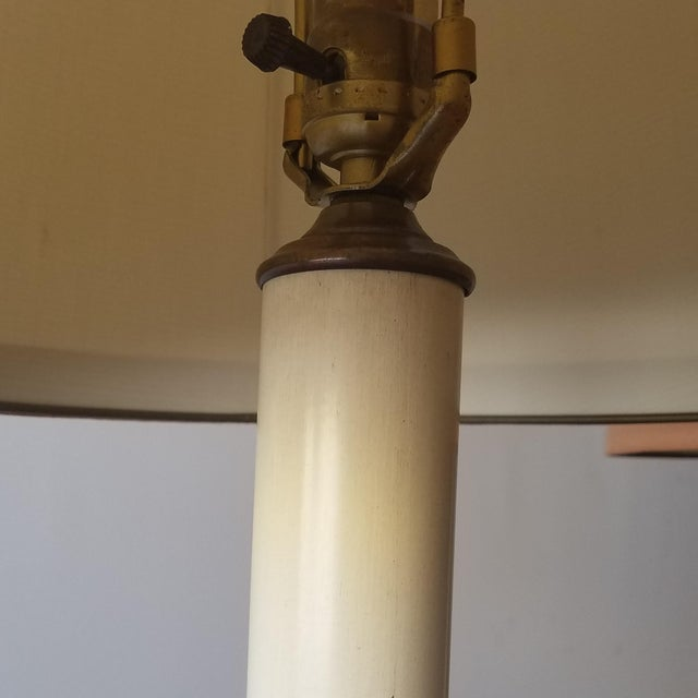 Bronze Frederick Cooper Mid 20th Century Bronze Table Lamps With Original Shades - a Pair For Sale - Image 8 of 12